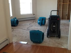 dehumidifying room after water removal