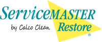 ServiceMaster Restore By Calco Clean logo Yellow and Aqua